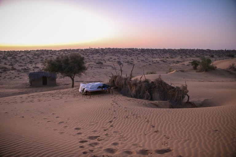 Our bed for the night on camel safari Jaisalmer.