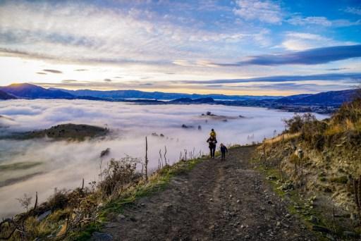 Cloudy views down below on the Roys Peak hike.