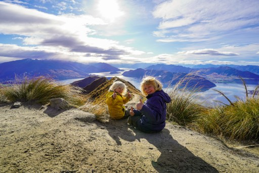 At the top of the Roys Peak hike with the kids.