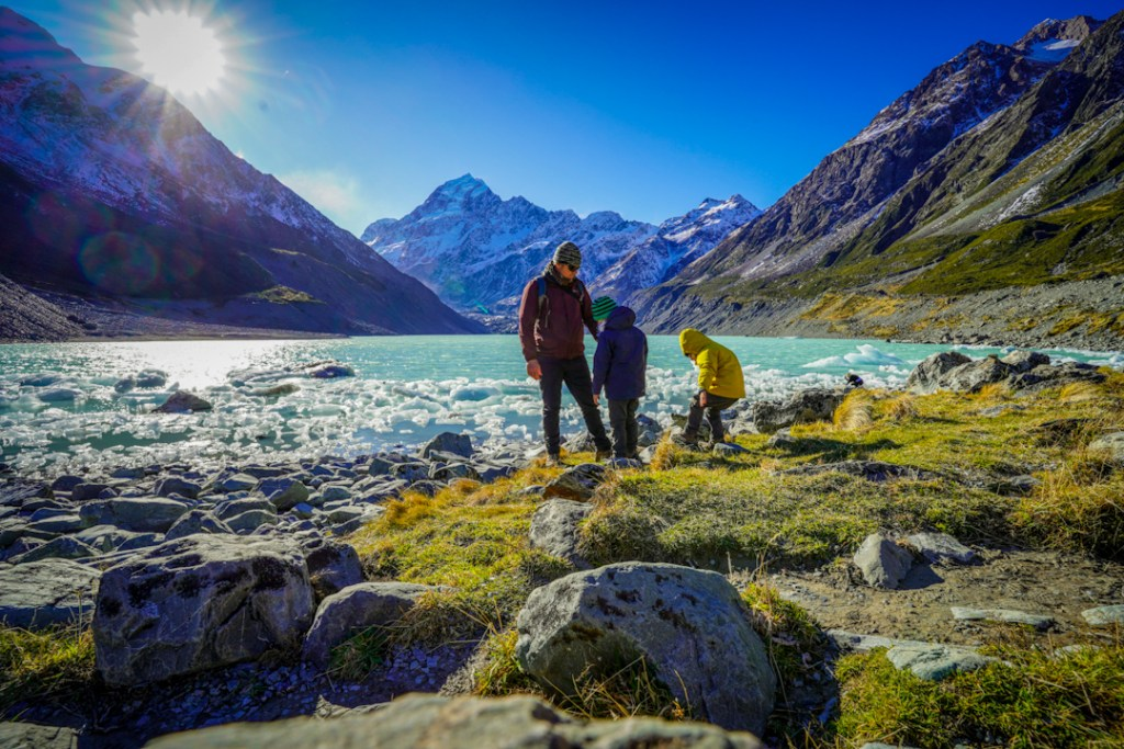Exploring the icebergs, Hooker Valley Track with kids.