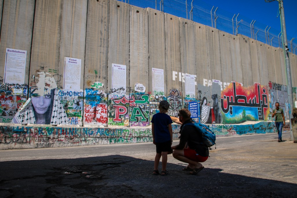 Looking at the wall at Palestine Territories.