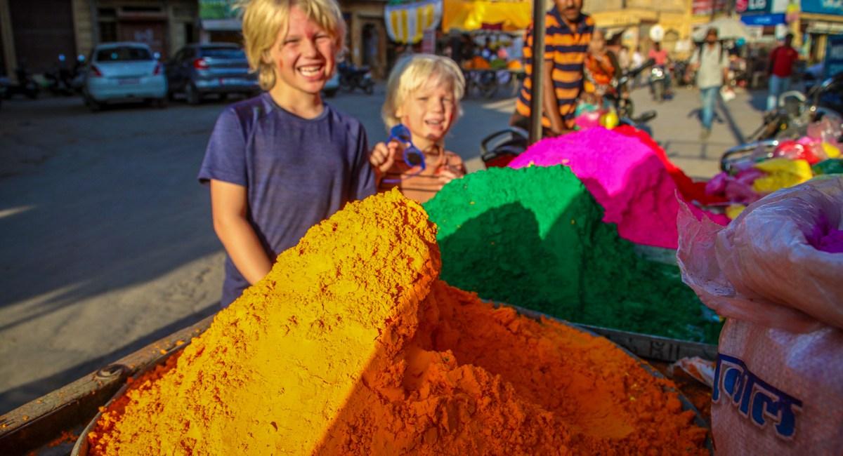 Celebrating Holi in India with kids