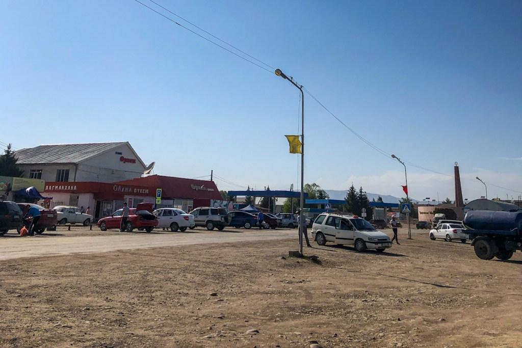 Kegen town main road. Crossing the Kegen border crossing from Karakol to Kegen.