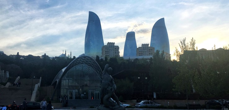 The Baku Flame Towers at sunset in Azerbaijan