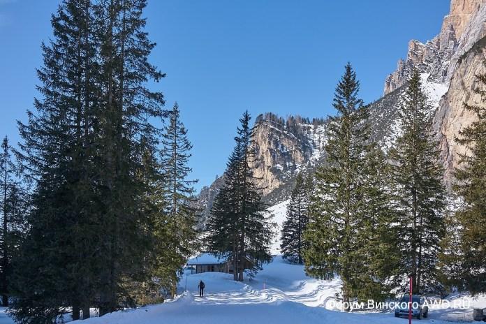 Корвара Италия горные лыжи в Доломитах