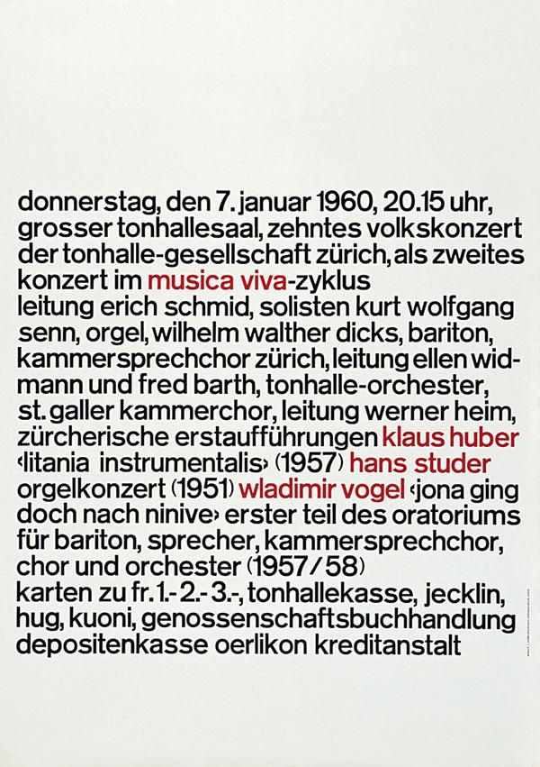 Плакат Musica Viva. Йозеф Мюллер-Брокманн, Швейцария, 1960