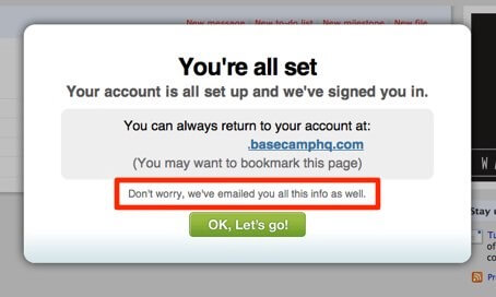 Уведомление при регистрации в Basecamp