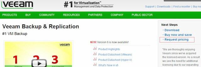 Новая страница продукта Veeam