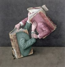 Серия иллюстраций Джонатана Уолстенхолма о книгах, живущих своей жизнью