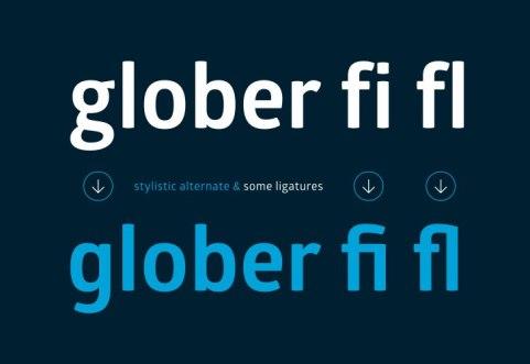 Новый шрифт Glober, гротеск в 18 начертаниях, кириллица.