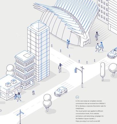 Стильные изометрические иллюстрации для JP Morgan Chase & Co.