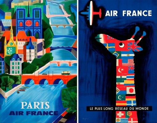 Рекламные плакаты Air France прошлого века