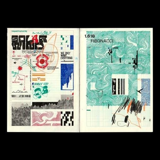 Некоторые развороты скетчбуков Павла Алексеева — арт-директора Arzamas Academy