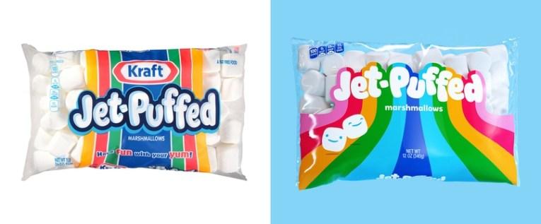 Обновление стиля и упаковки маршмэллоу Jet-Puffed
