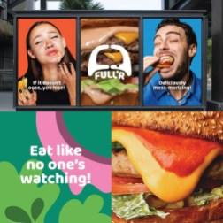 Айдентика бургерной Full'r выпячивает главный недостаток бургеров — то, что из них всё течёт и вываливается во время еды — и воспевает его, превращая в веселье и забаву.