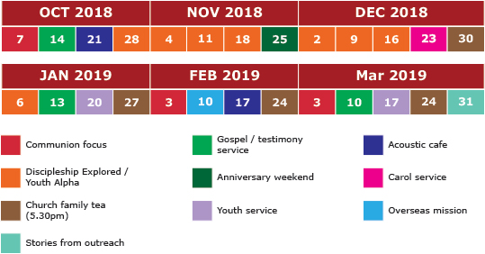 Sunday evenings timetable