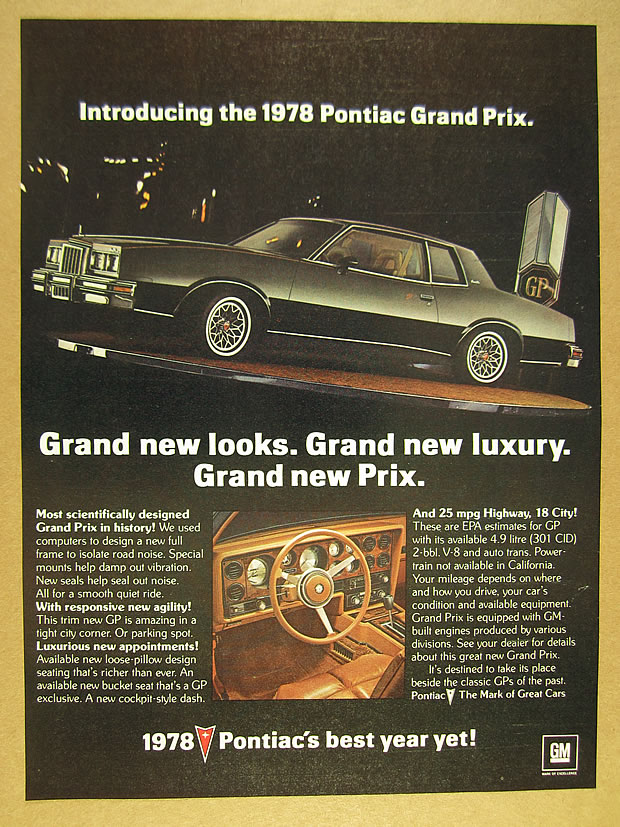 1978 Pontiac Grand Prix : pontiac, grand, Pontiac, Grand, Black, Cockpit, Photos, Vintage, Print