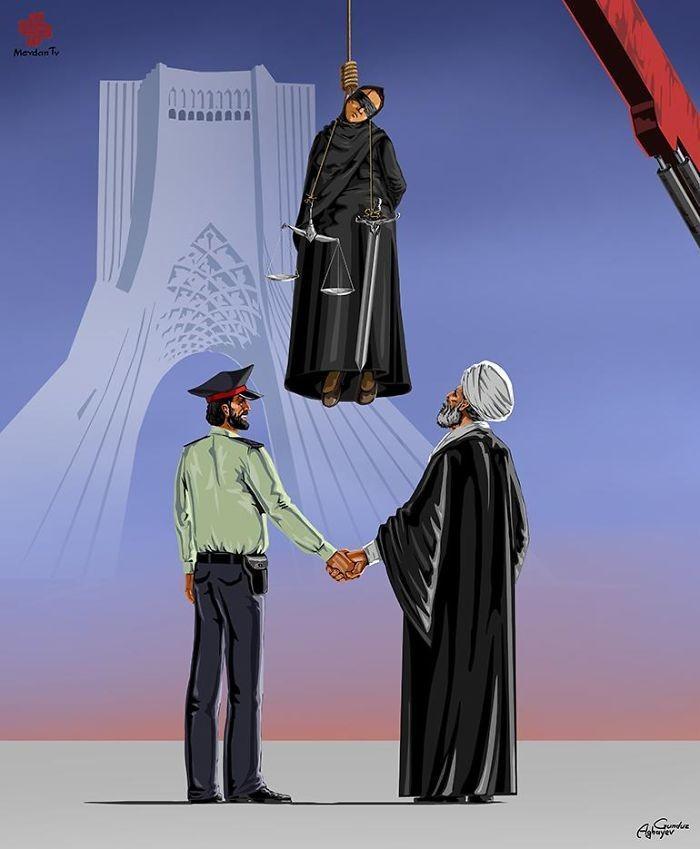 Cartunista retrata como líderes mundiais veem a justiça (13)