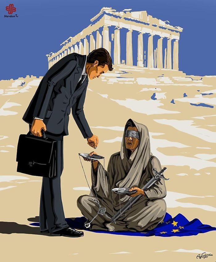 Cartunista retrata como líderes mundiais veem a justiça (12)