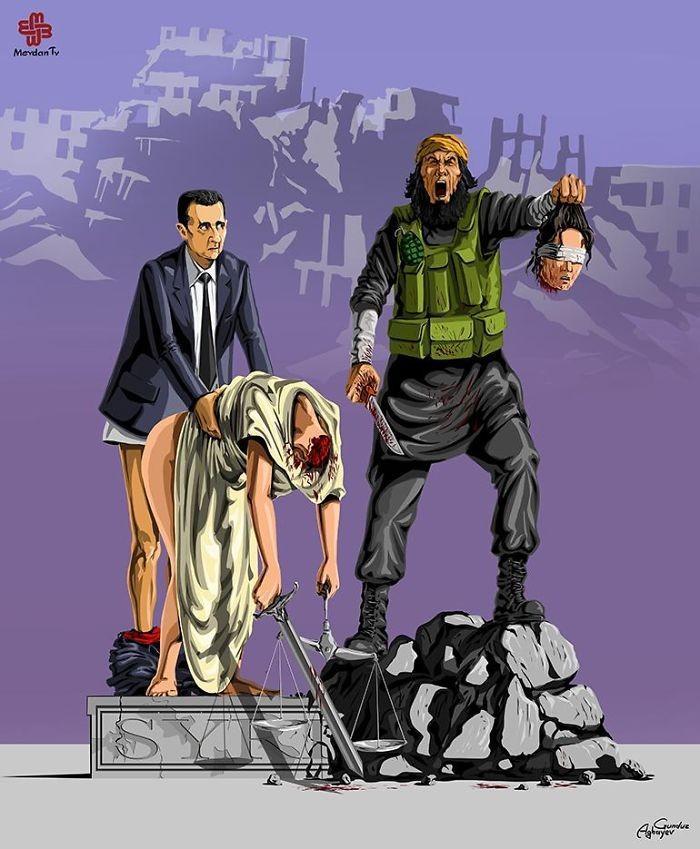 Cartunista retrata como líderes mundiais veem a justiça (9)