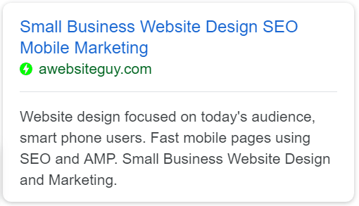 google AMP search results
