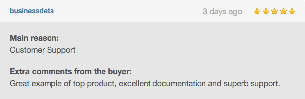 Excellent example of leading product, excellent documentation and excellent support.
