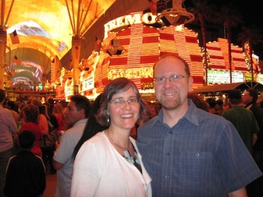 Under the lights at the Fremont St. Experience
