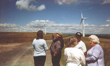 Local residents on a visit to a windfarm