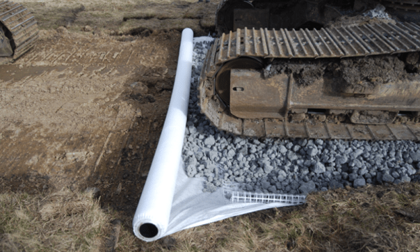 Laying-the-geotextile