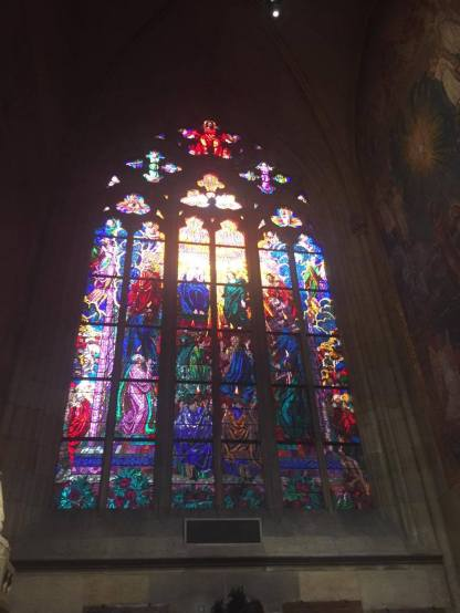 Stained glass inside St. Vitus