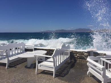 Windy day in the town of Mykonos