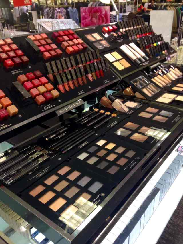 Burberry cosmetic display at Nordstrom