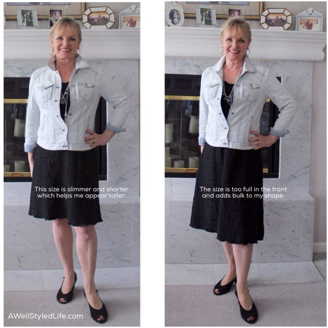 Beware if skirts are too full. The petite woman looks taller in a slimmer skirt.