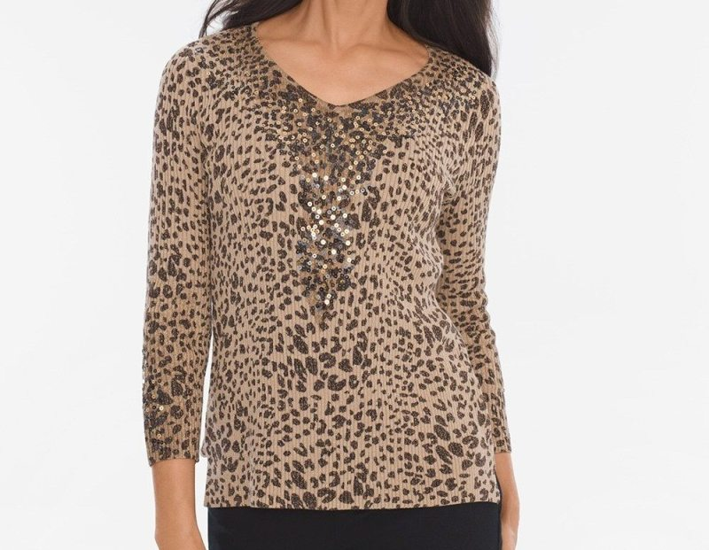 Sequined leopard pullover from Chico's on A Well Styled Life
