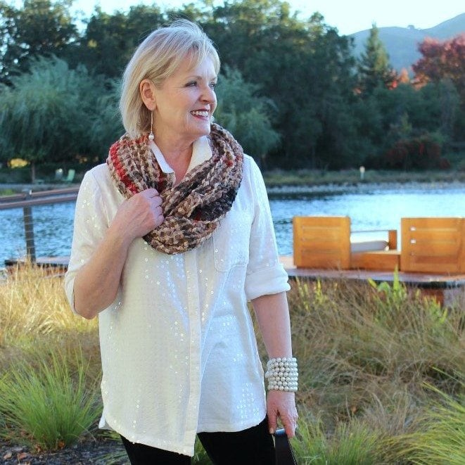 Jennifer Connolly of A Well Styled Life wearing sequins from Anthropologie