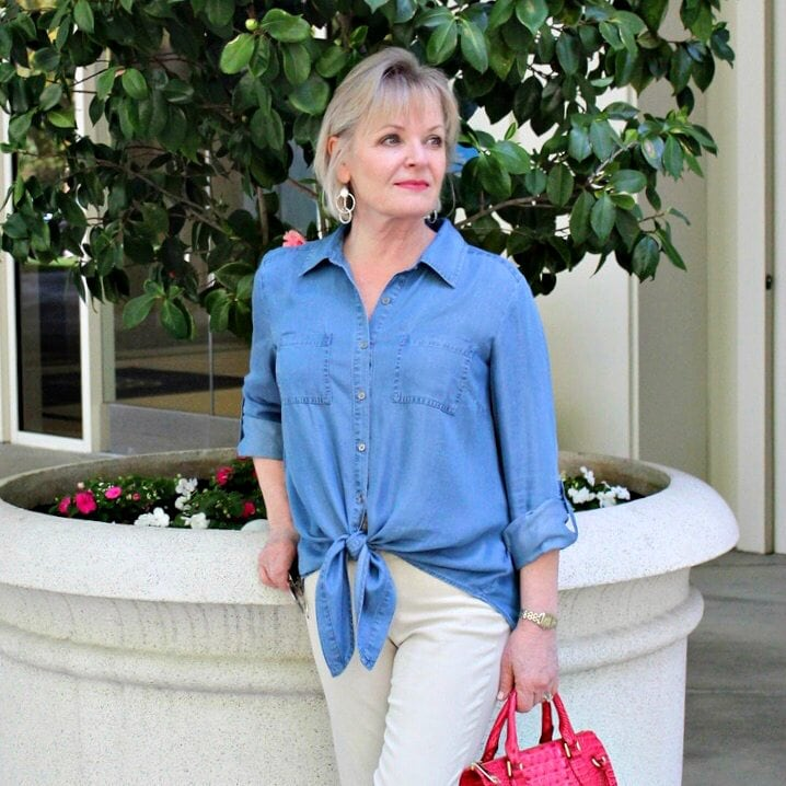 Jennifer Connolly of A Well Styled Life wearing Style and Co shirt form Macy's