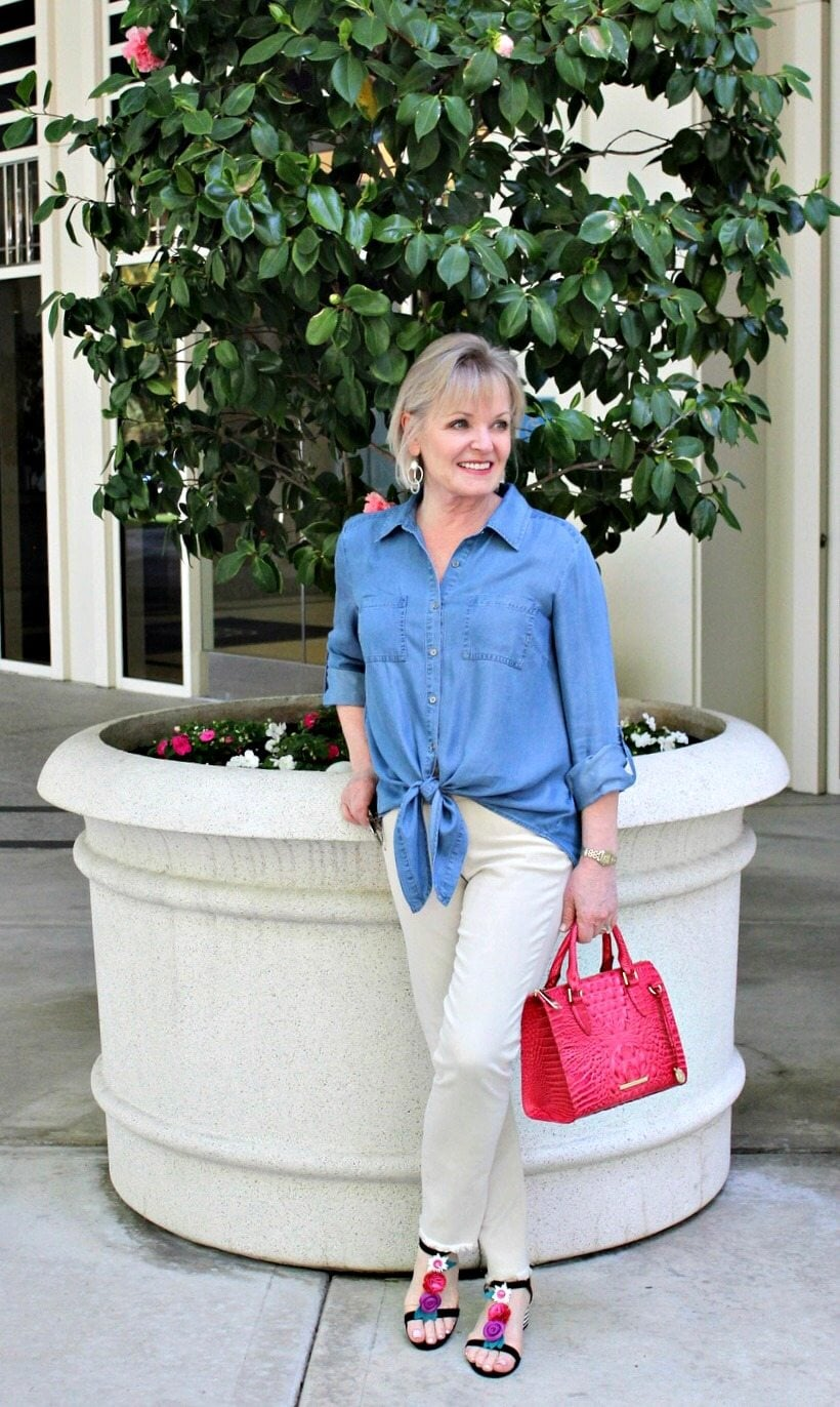 Jennifer Connolly of A Well Styled Life modeling NYDJ Sheri jeans from Macy's