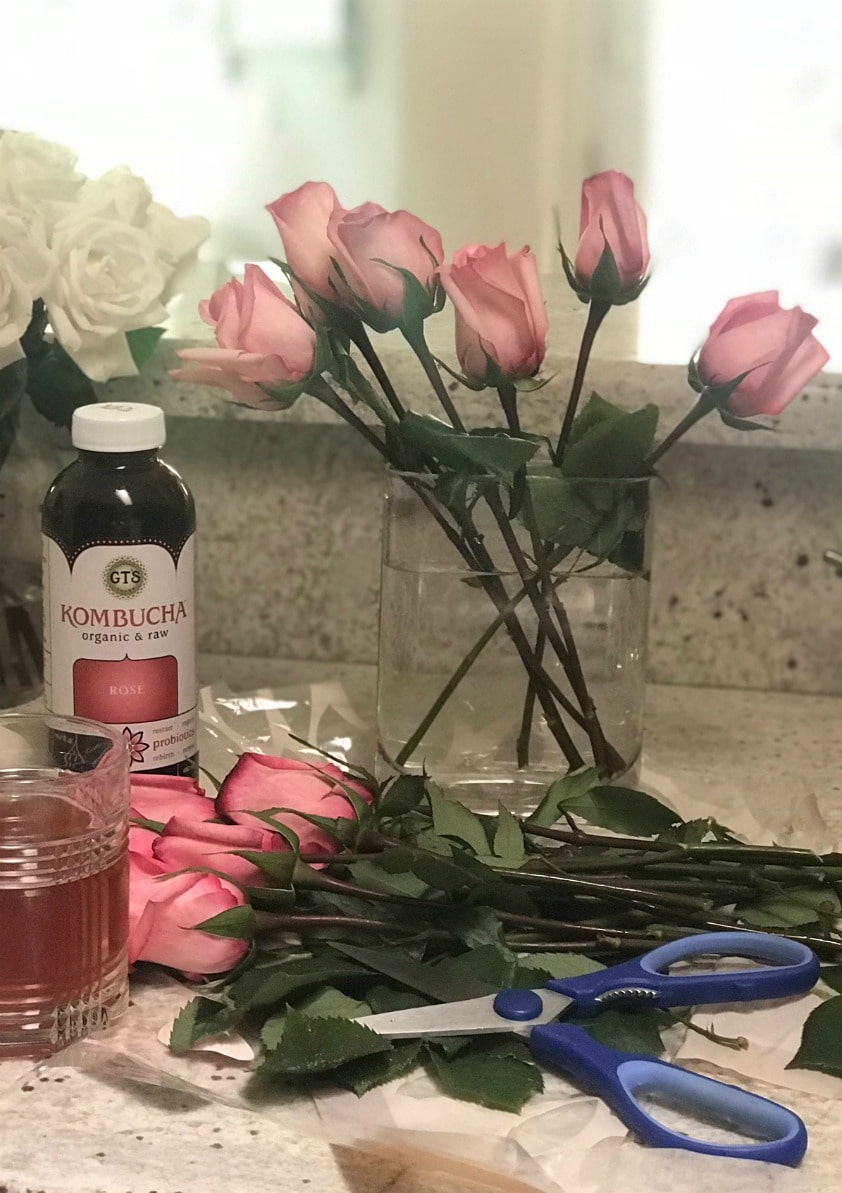 fresh roses and rose Kombucha on A Well Styled Life