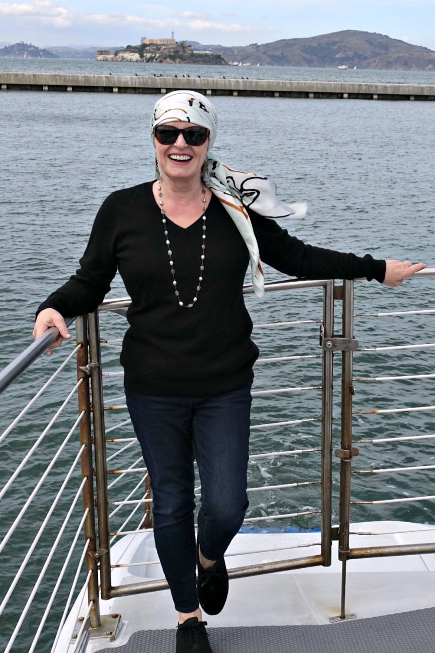 Jennifer Connolly of A Well Styled Life wearing Gladys Perint Palmer scarf from Talbots