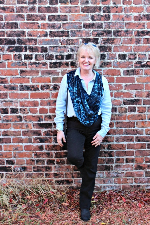 jennifer connolly of a well styled life in blue burnout velvet cape from artful home