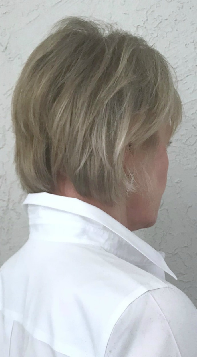 back view of the best haircut for fine hair on jennifer connolly of a well styled life