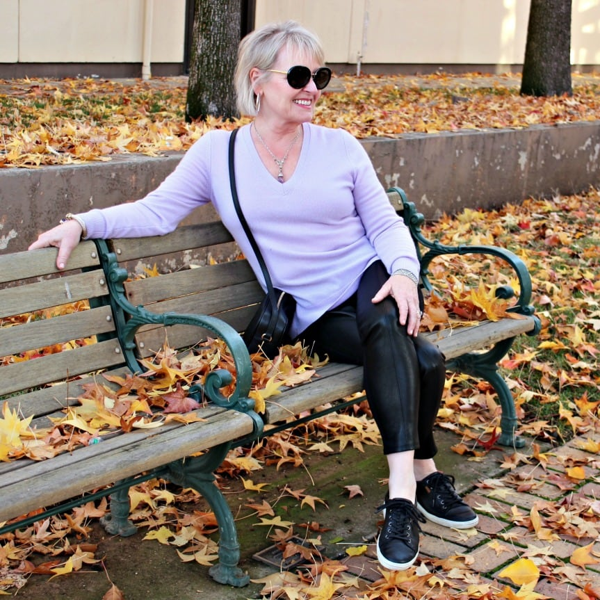 Jennifer Connolly from A Well Styled Life wearing Ecco sneakers, faux leggings and cashmere sweater from Ann Taylor