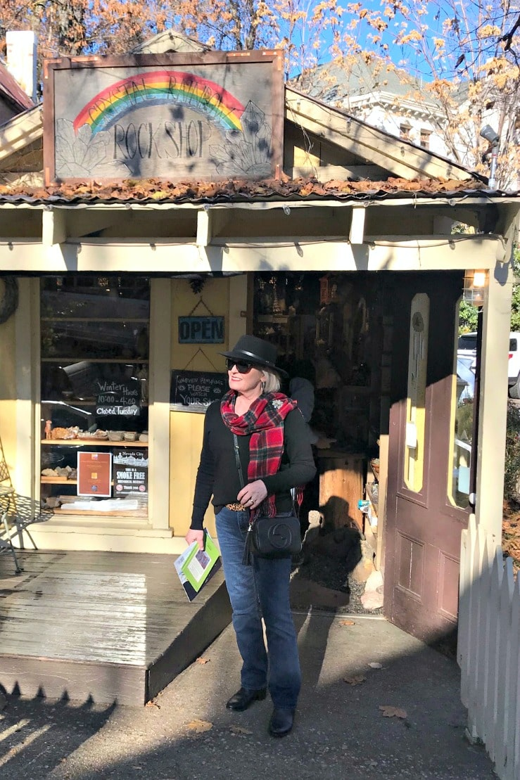 Jennifer Connolly of A Well Styled Life outside rock shop in Nevada City, CA