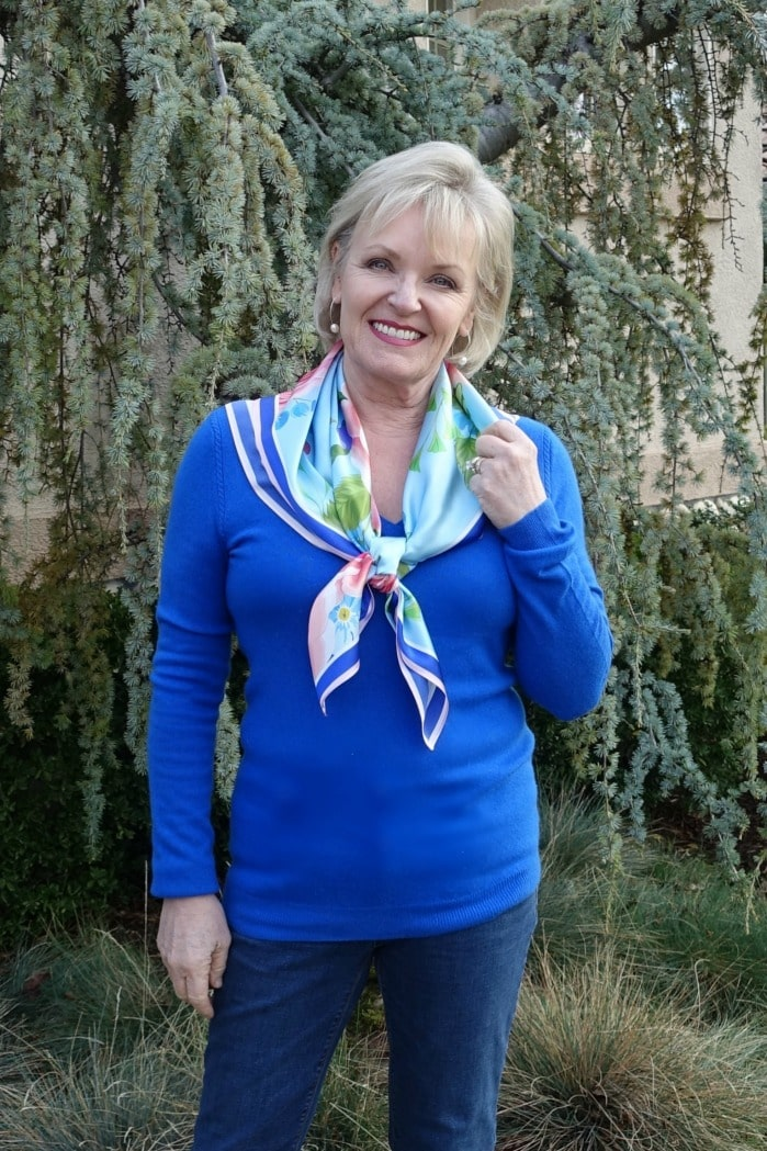 Jennifer Connolly of A Well Styled Life wearing Peony Silk Scarf from LilySilk