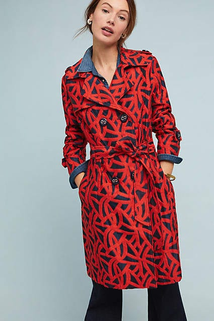 red pattern trench from anthropologie