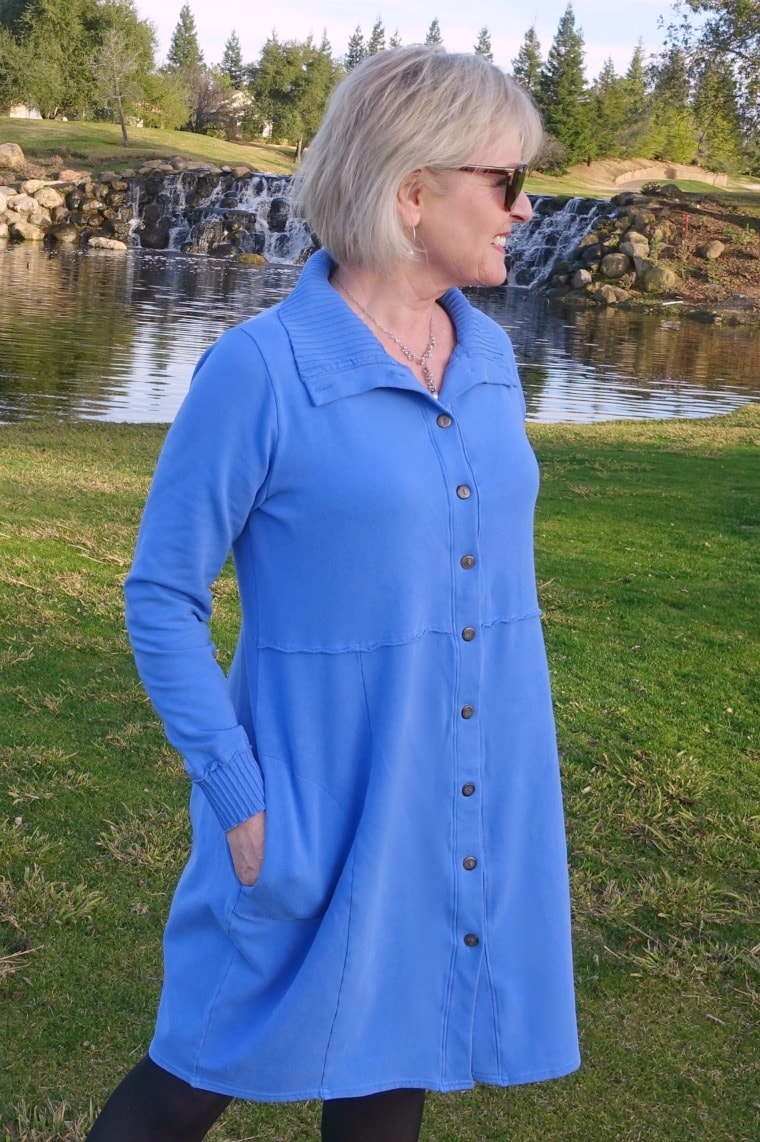 Jennifer of A Well Styled Life wearing Bee Jacket from Artful Home as a dress