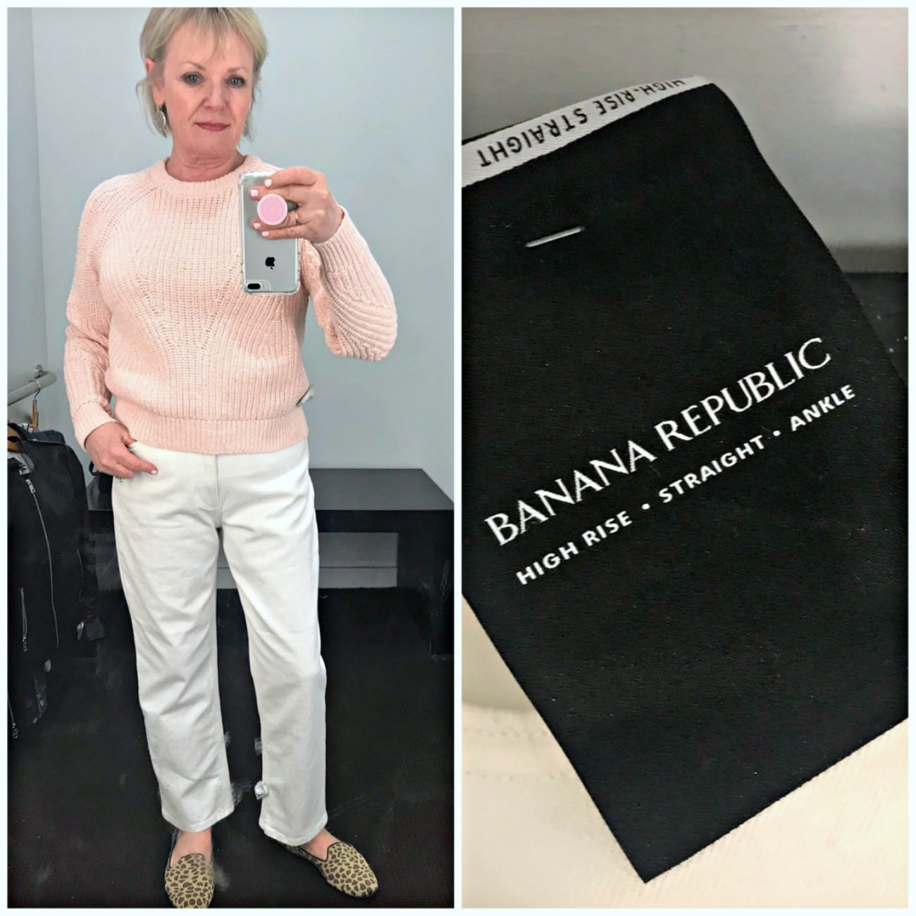 Jennifer of A Well Styled Life wearing Banana Republic white jeans and pink sweater