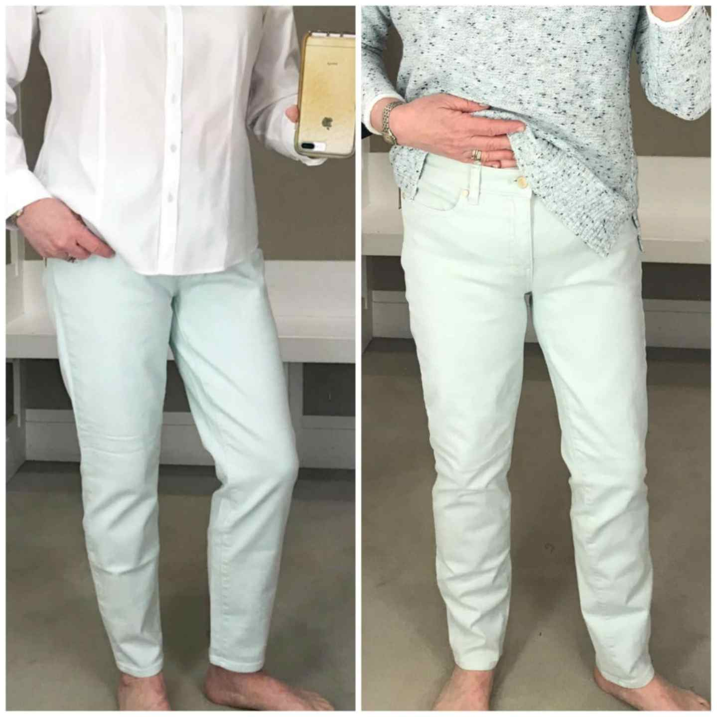 Jennifer of A Well Styled Life showing comparison in rise for petite vs regular Talbots jeans