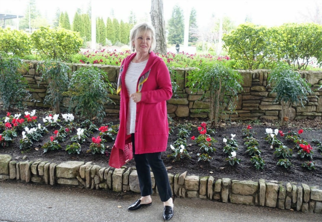 Cypress Hoodie from Artful Home styled over black jeans for casual look