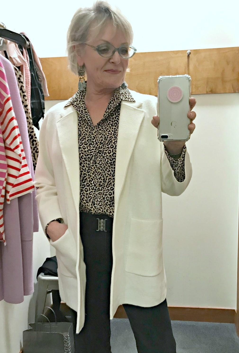 Jennifer of A Well Styled Life wearing ivory sweater blazer by J.Crew